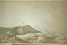 Point Conception Lighthouse.Drawing by Major Hartman Bache, inspectof of the 12th Lighthouse District.Hartman Bache was the uncle of Alexander D. Bache, 2nd supt. of the Coast Survey