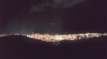 Overlooking Honolulu at night from Tantalus Drive.