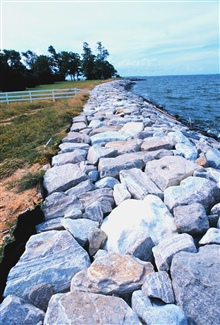 Rock seawall to mitigate erosion at the south end of Tilghman Island.