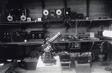 World longitude network setup at Manila.Note radio gear to receive time ticks.Chronograph is drum-like instrument to right