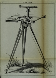 Diagram of plane table with cutaway showing tripod head.C&GS; Superintendent's Report for 1865