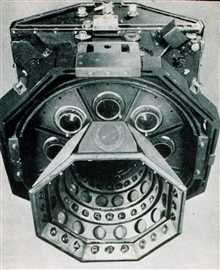 Nine-lens camera fully assembled.This camera was designed by Oliver Scott Reading in the early 1930's.It was the state-of-the-art aerial camera for many years