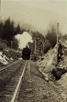 Working along the Southern Pacific Railroad.Rodman at benchmark.Observing crew even with engine on right.Velocipede removed from tracks.Level party of C. A. Egner