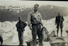 Ready to rope up prior to crossing Twin Glacier.William Scaife with rope.Triangulation party of William M. Scaife