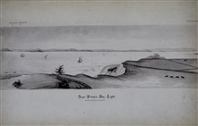 Ferdinand Hassler' s carriage on road at base of cliff.Sketch by John Farley - mid 1830's.