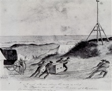 Ferdinand Hassler directing the movement of the great theodolite to the station.Working on Fire Island, about 1837.Sketch by John Farley.