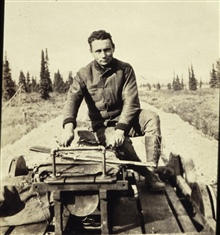 William Scaife on motor velocipede south of Fairbanks.Triangulation party of William M. Scaife.