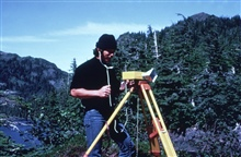 Operating a model CA1000 Tellurometer which was a microwave distancemeasuring instrument.