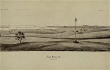 Pole signal with tin cone for reflecting sunlight.Constructed by survey crews under direction of Ferdinand Hassler.Sketch by Assistant John Farley - view looking to south across Long Island Sound