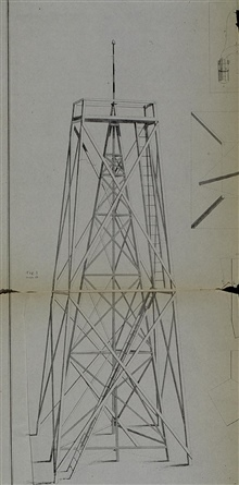 Wooden tower within a tower.Outer tower supports personnel - inner tower supports instrument.First devised by Assistant Edmund Blunt to see over marshes in Delaware Bay area
