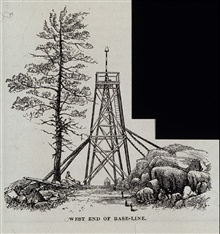 Survey tower with signal pole and tin cone.At west end of Epping Base Line.Survey monument shows below tower.Stakes on graded surface were for aligning base measuring instruments