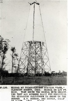 129 foot wooden tower at Station Tate.Horse and buggy at lower right corner for scale.Triangulation party of A. T. Mosman