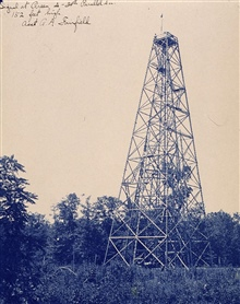 Station Greene, Indiana.Instrument height is 152 feet above ground.39th Parallel Survey.Triangulation party of George A. Fairfield