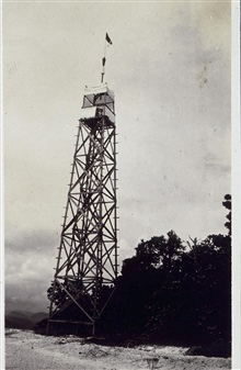 Tower with signal flag at Station Bint.At Bihintinusa Island off the south coast of Basilan.Built by crew off the MARINDUQUE