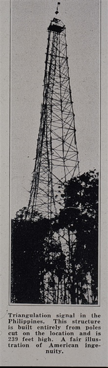 239-foot tower built on Bugsuk Island in southwest Philippines.This tower was built completely from native timber cut on location.It took 19 men off the PATHFINDER three weeks to build this signal.This was the largest wooden tower ever built by the C