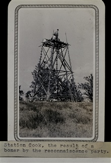 Station Cook - tower had to be built after error by reconnaissance man.Triangulation party of Wilbur Porter