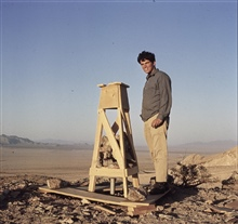 Small wooden stand on ridge in Mojave Desert.Station built during observations on Transcontinental Traverse work.Triangulation party of Woodrow Johnson