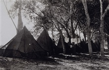 Camping in the shade in the desert.Earthquake studies in Southern California.Leveling and triangulation party of F. W. Hough