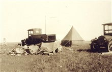 Camp at Station Wall South Base with tent blown down by high wind.Astro party of E. J. Brown