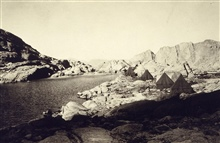 Camp for level crew at 12,000-foot level on Mount Whitney.Level party of John H. Brittain