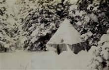 The lightkeepers' camp at Salesville camp.After the storm.Photo #2 of sequence.Triangulation party of William M. Scaife