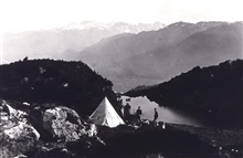 Camp on the side of Mount Cote.Triangulation party of William M. Scaife
