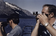 Measuring three-point sextant fix during launch hydrography.Launch off of LESTER JONES