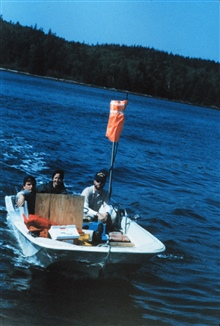 Boston Whaler outfitted for hydrography.Boat off of PEIRCE