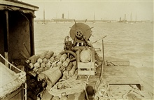 Stowage of wiredrag equipment.Working in approaches to Boston Harbor.Wiredrag party of N. H. Heck