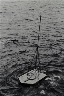 Streamlined buoy with Roberts Radio Current Meter.Deployed in Unalga Pass