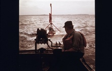 Buoy in tow from the MARMER.Towing buoy to station location