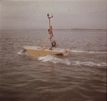 Current buoy in strong currents in Charleston Harbor.Station established by the MARMER