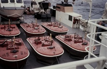 Current buoys on deck on the FERREL for Maine project.
