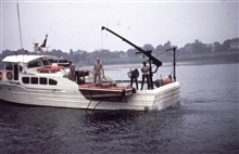 NOAA Launch 1255 with crane for handling current buoys and meters.Launch 1255 worked with FERREL in Penobscot Bay