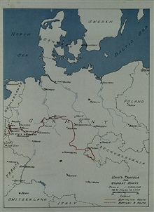 Route of 17th Field Artillery Observation Battalion through Belgium and Germany. 17th FAOB was on the north shoulder of the Bulge.Photo from 17th FAOB Album