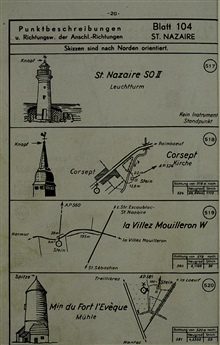Sketches with maps of various geodetic control points.From captured German geodetic control book for St. Nazaire
