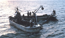 Menhaden fishing - Getting ready to set the net early in the morning
