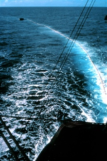 Workboat holding net prior to ship encircling school of tuna.