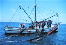 A double-rigged shrimp trawler with one net up and the other being broughtaboard