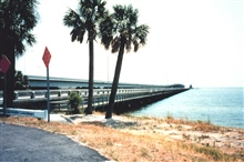 The Gandy Bridge fishing catwalk.  This bridge connects St. Petersburg and Tampa.  It's a long walk to fish the deeper water of Tampa Bay.