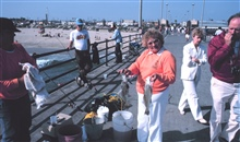 California pier angling - happy lady with a nice croaker catch.