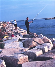 Fishing off the jetty at Point Judith