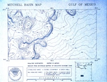 Map from NOAA Exclusive Economic Zone Mapping Project.Mitchell Basin map showing small portion of Sigsbee Escarpment.Image is 30 nautical miles by approximately 50 nautical miles