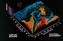 3-D image from NOAA Exclusive Economic Zone Mapping Project.Shepard Meander of Monterey Canyon looking to southwest
