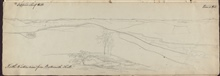 Field sketch of triangulation stations- ' North-Eastern view fromButtermilk Hill.'