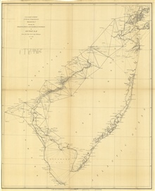 Annual Report 1851. Sketch B. No. 3 Showing the Triangulation &Geographical Positions in Section No. II From New York City to Cape Henlopen.