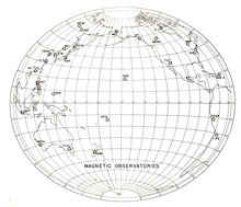 Location of magnetic observatories in United States and Pacific Ocean.  San Juan, Cheltenham, Tucson, Sitka, and Honolulu were Coast and Geodetic Surveymagnetic and seismological observatories.