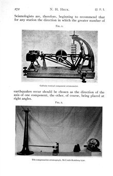 Galitzin Vertical Component Seismometer and McComb-Rombergtilt compensation seismograph in: Coming to grips with theEarthquake Problem, by Nicholas H. Heck, 1931.  Journal of the FranklinInstitute, Vol. 212, No. 3, pp. 269-303.