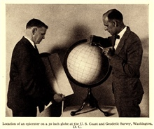Determination of the epicenter of an earthquake by manual means on a globeof the Earth. In: Coming to grips with theEarthquake Problem, by Nicholas H. Heck, 1931.  Journal of the FranklinInstitute, Vol. 212, No. 3, pp. 269-303.