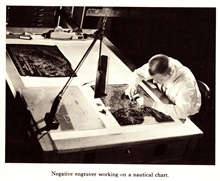 Negative engaver working on a nautical chart.  In: The Coast and GeodeticSurvey: Its Products and Services, 1965.  57 pp.